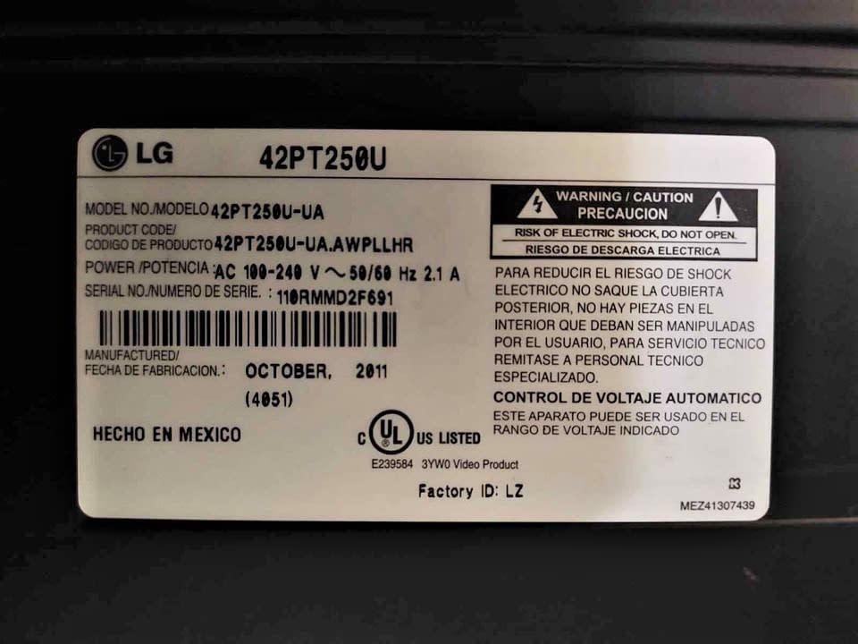 Se vende televisor plasma LG 42 Pulgadas