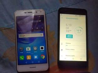 Vendo estos 3 teléfonos 2 Huawei y5 y un bimovil de 32 GB
